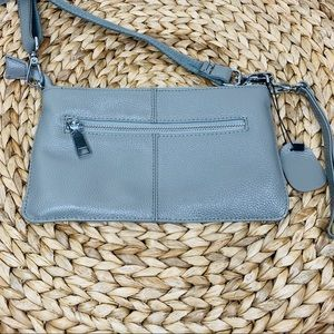 Lecxci Gray Leather Crossbody Clutch Bag